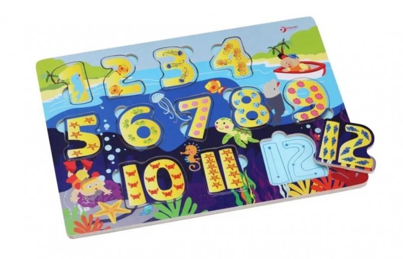 Classic world Náučné drevené puzzle - čísla