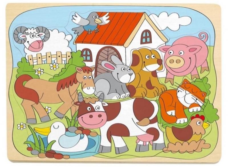 Woody Náučné drevené puzzle - Farma