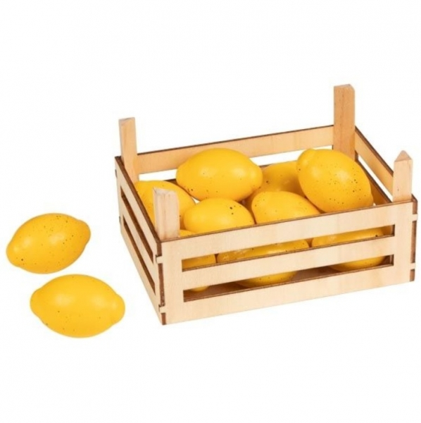 Goki Drevený košík s citróny