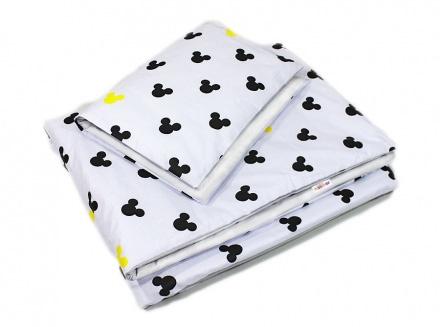 Baby Nellys 2-dielne obliečky Mickey, bavlnené - biela , žltá 135 x 100