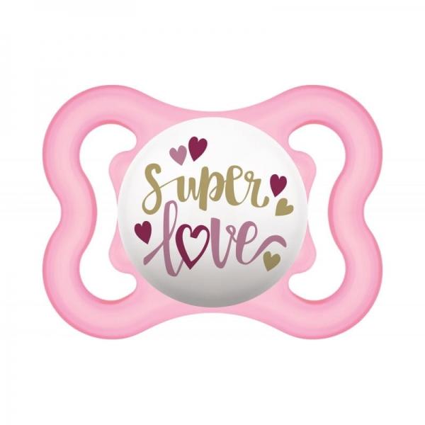 Symetrický cumlík Mam Air 2 - 6 m - Super love, ružový