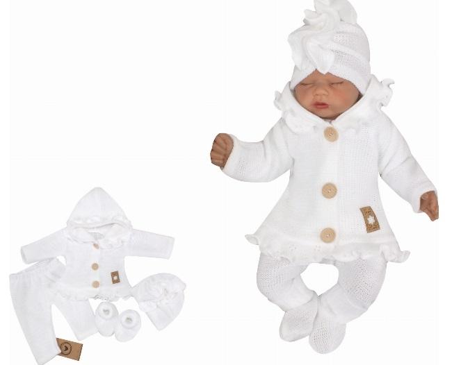 Z&Z 4-dielna pletená súpravička, kabátik, tepláčky, čiapočka a topánočky,biela