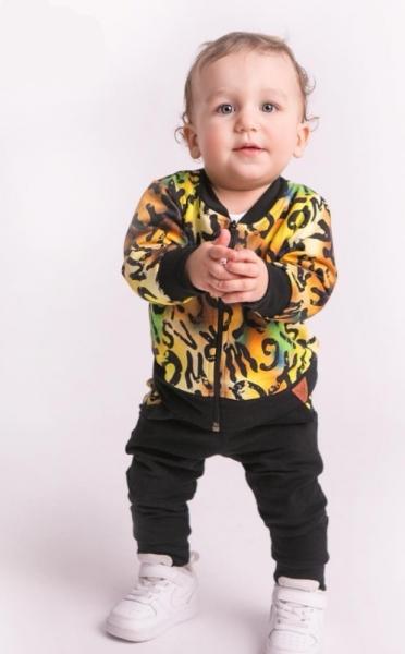 G-baby Štýlová bavlnená tepláková súprava Písmenká - žltá/čierna, veľ. 86-#Velikost koj. oblečení;86 (12-18m)