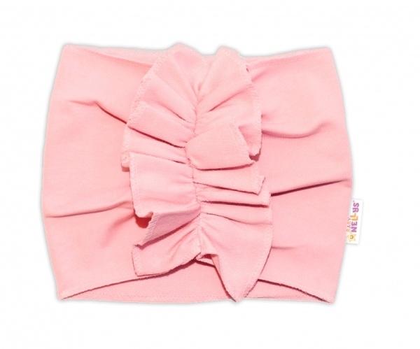 BABY NELLYS Detská čelenka Turban, svetlo ružová-#Velikost koj. oblečení;0-1rok