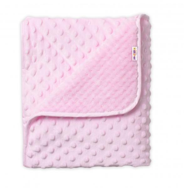 Baby Nellys Detská luxusná obojstranná deka s Minky 80x90 cm, ružová