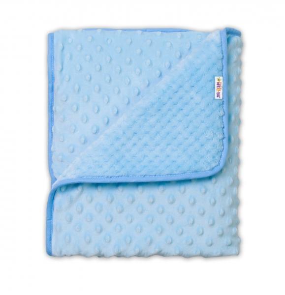 Baby Nellys Detská luxusná obojstranná deka s Minky 80x90 cm, modrá