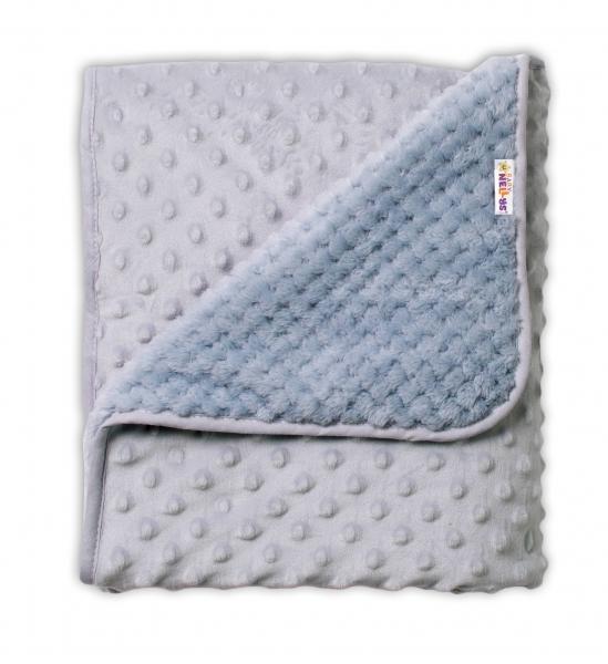 Baby Nellys Detská luxusná obojstranná deka s Minky 80x90 cm, šedá