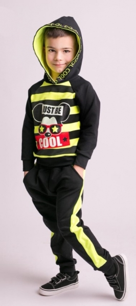 G-baby Štýlová bavlnená tepláková súprava Niko - neon.žltá/čierna, veľ. 86-#Velikost koj. oblečení;86 (12-18m)