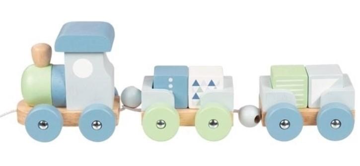 Goki Edukačná drevená hračka ťahacie Vláčik s kockami na šnúrke, modro/zelenej