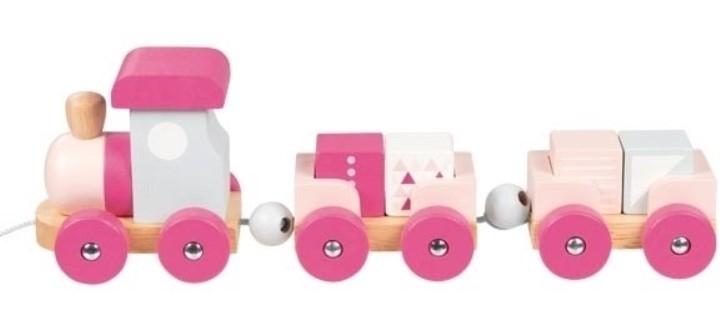 Goki Edukačná drevená hračka ťahacie Vláčik s kockami na šnúrke, ružové