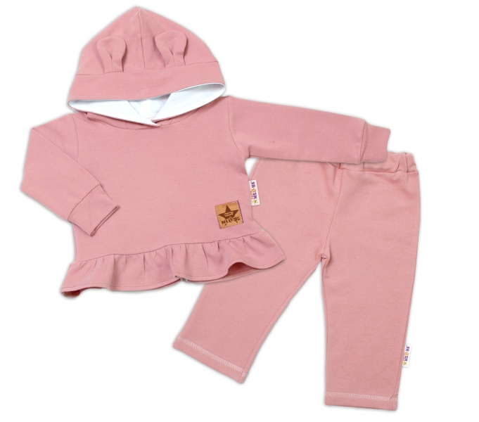 BABY NELLYS Detská tepláková súprava s kapucňou a uškami - púdrovo ružová, staroružová-#Velikost koj. oblečení;74 (6-9m)