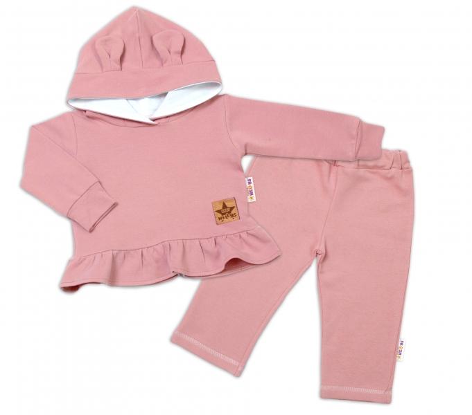 BABY NELLYS Detská tepláková súprava s kapucňou a uškami-púdrovo ruž., staroružová, veľ.86-#Velikost koj. oblečení;86 (12-18m)