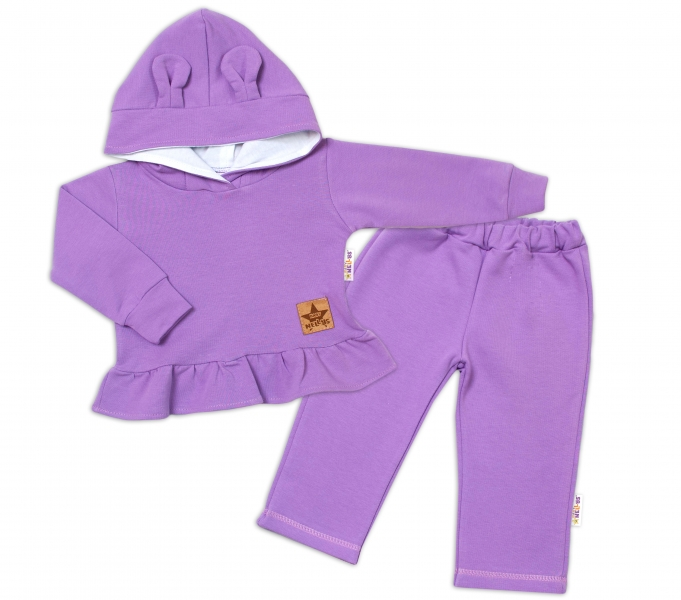 BABY NELLYS Detská tepláková súprava s kapucňou a uškami - lila-#Velikost koj. oblečení;74 (6-9m)
