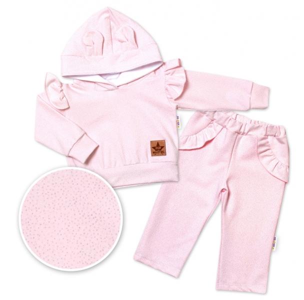 BABY NELLYS Detská tepláková súprava s kapucňou, volániky a uškami - ružová, vel. 80-#Velikost koj. oblečení;80 (9-12m)