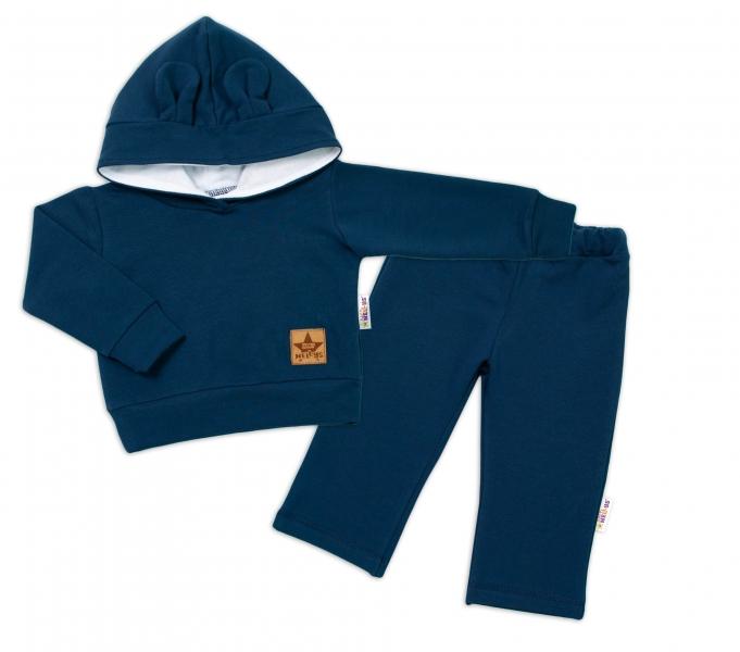 BABY NELLYS Detská tepláková súprava s kapucňou a uškami, granátová, veľ. 98-#Velikost koj. oblečení;98 (24-36m)