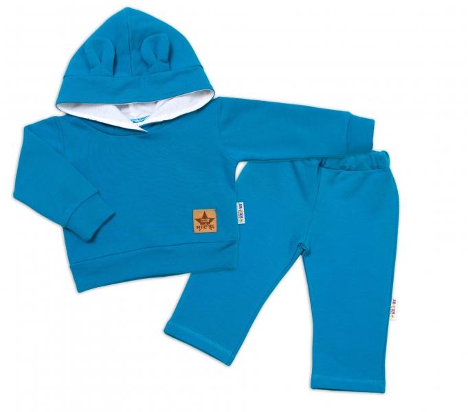 BABY NELLYS Detská tepláková súprava s kapucňou a uškami, petrolejová-#Velikost koj. oblečení;74 (6-9m)