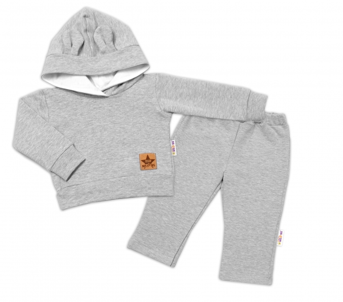 BABY NELLYS Detská tepláková súprava s kapucňou a uškami, sivá, veľ. 80-#Velikost koj. oblečení;80 (9-12m)