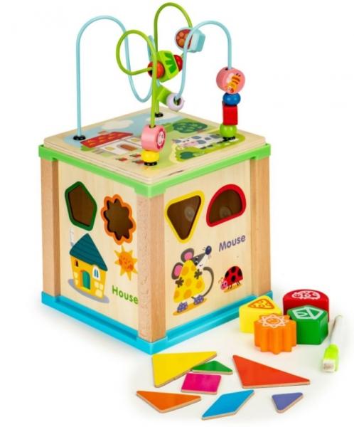 ECO TOYS Edukačná drevená kocka s labyrintom a tabulkou Farma