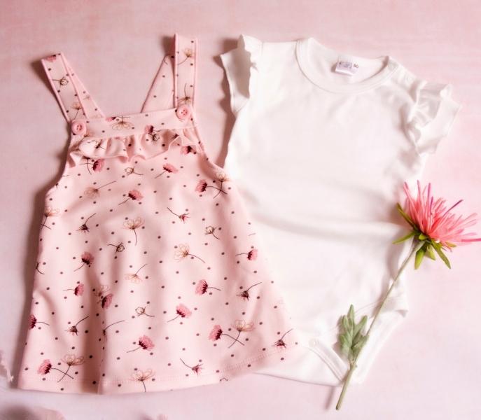 K-Baby Sada/Dojčenské body + sukňa na traky, Vlčí mak - ružová / biela, veľ. 68-#Velikost koj. oblečení;68 (4-6m)
