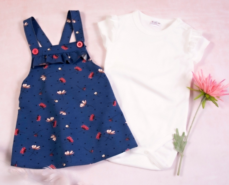 K-Baby Sada/Dojčenské body + sukňa na traky, Vlčí mak - modrá / biela, veľ. 74