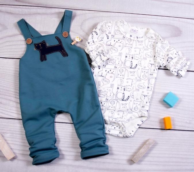 K-Baby Sada/Dojčenské body + lacláče, Kocúr, petrolejová/smotanová-#Velikost koj. oblečení;62 (2-3m)