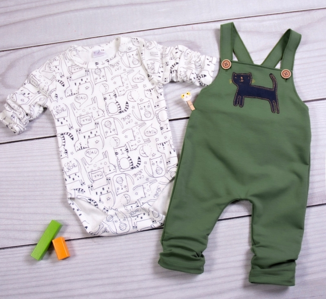 K-Baby Sada/Dojčenské body + lacláče, Kocúr, olivová/smotanová-#Velikost koj. oblečení;62 (2-3m)