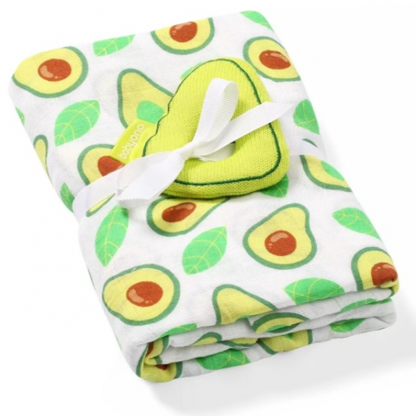 BabyOno Bambus/Mušelín Avokádo - plienka - muchláček + hrkálka zelená/biela, 0 m