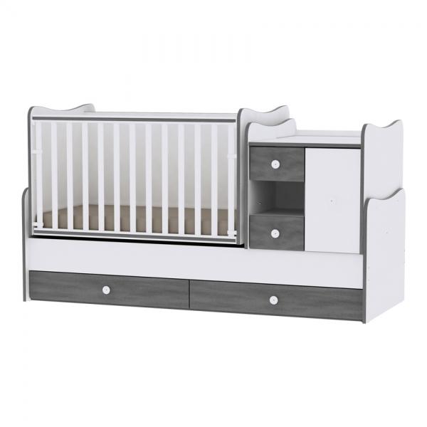 Multifunkčná detská postieľka Lorelli MINI MAX New 190x72 WHITE/VINTAGE GRAY