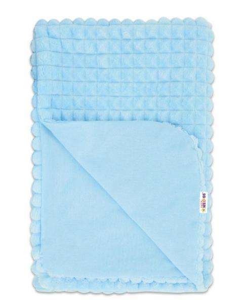 Baby Nellys Luxusná bavlnená dečka s Minky 75x75cm, modrá/modrá