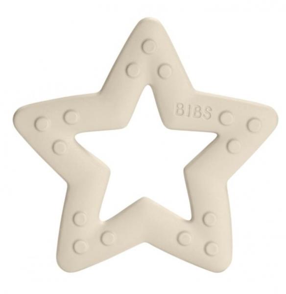 BIBS Baby Bitie Star Ivory - Silikónové hryzátko Hviezdička - biela