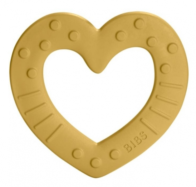 BIBS Baby Bitie Heart Mustard - Silikónové hryzátko Srdiečko - horčicové