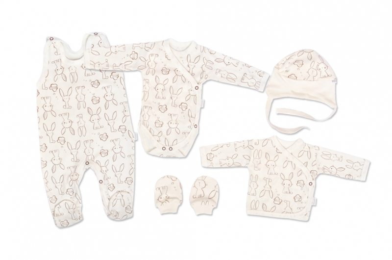 Mamatti Novorodenecká súprava do pôrodnice, biela - Králíček, veľ. 62