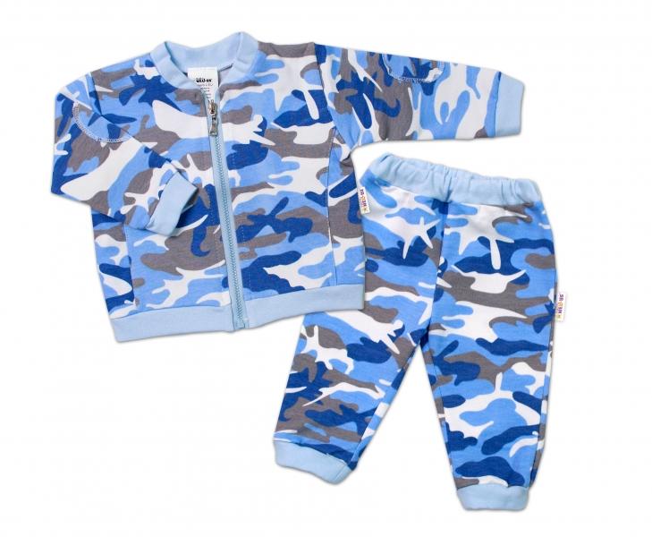 BABY NELLYS Dojčenská tepláková súprava army, modrá