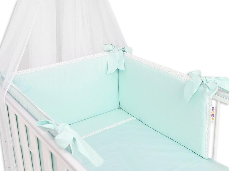 Baby Nellys Luxusní 3-dielna sada Mantinel s obliečkami Royal Baby  - mätový