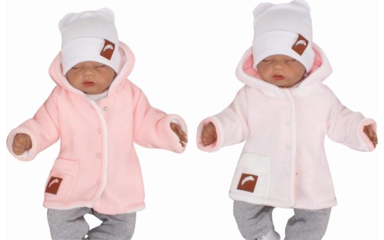 Z & Z Pletený, obojstranný svetrík s kapucňou, ružovo-biely-#Velikost koj. oblečení;56 (1-2m)