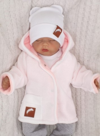Z & Z Pletený, obojstranný svetrík s kapucňou, ružovo-biely, veľ. 80-#Velikost koj. oblečení;80 (9-12m)