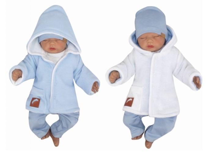 Z & Z Pletený, obojstranný svetrík s kapucňou, modro-biely-#Velikost koj. oblečení;56 (1-2m)