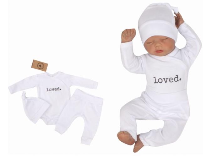 Z & Z 3-dielna súpravička body, tepláčky a čiapočka Loved - biela-#Velikost koj. oblečení;50 (0-1m)