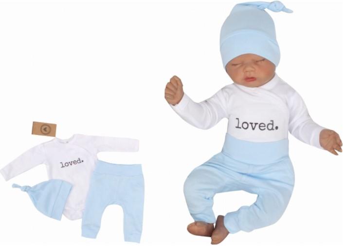 Z & Z 3-dielna súpravička body, tepláčky a čiapočka Loved - bielo/modrá-#Velikost koj. oblečení;50 (0-1m)