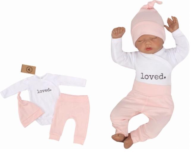 Z & Z 3-dielna súpravička body, tepláčky a čiapočka Loved - bielo/ružová-#Velikost koj. oblečení;50 (0-1m)