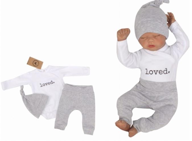 Z & Z 3-dielna súpravička body, tepláčky a čiapočka Loved - bielo/sivá-#Velikost koj. oblečení;50 (0-1m)