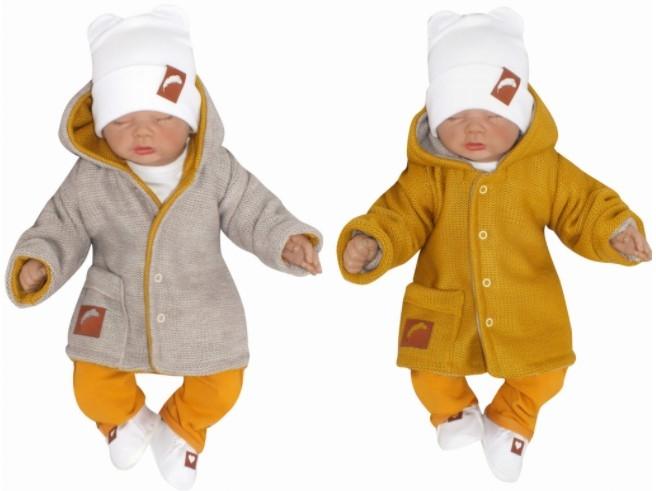Z & Z Pletený, obojstranný svetrík s kapucňou, horčicovo-bežový-#Velikost koj. oblečení;56 (1-2m)