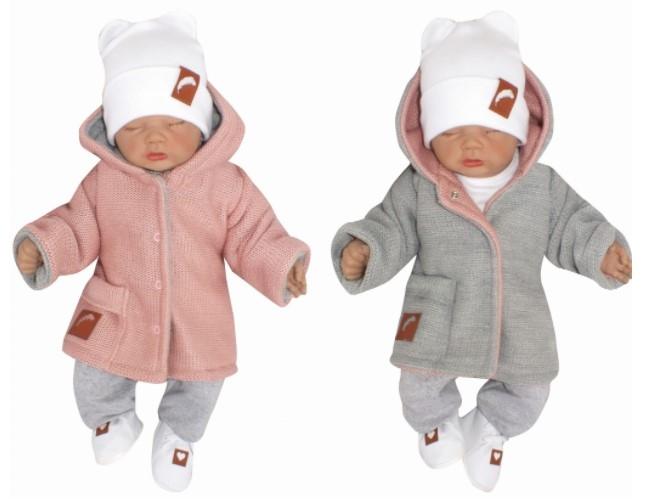 Z & Z Pletený, obojstranný svetrík s kapucňou, ružovo-sivý, veľ. 62-#Velikost koj. oblečení;62 (2-3m)