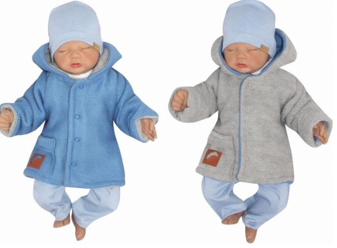 Z & Z Pletený, obojstranný svetrík s kapucňou, modro-sivý-#Velikost koj. oblečení;56 (1-2m)