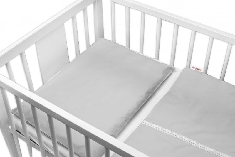 Baby Nellys Luxusní 2 - dielne bavlnené obliečky - Royal Baby, sivé