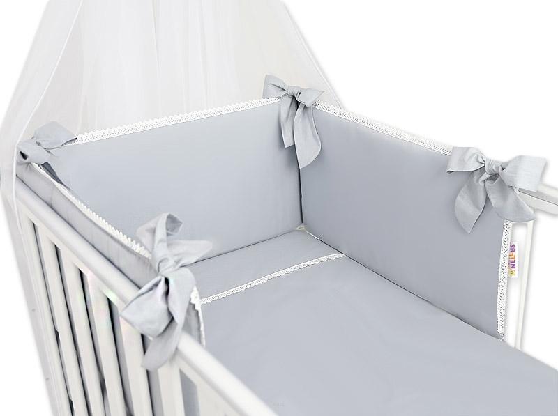 Baby Nellys Luxusní 3-dielna sada Mantinel s obliečkami Royal Baby  - sivý