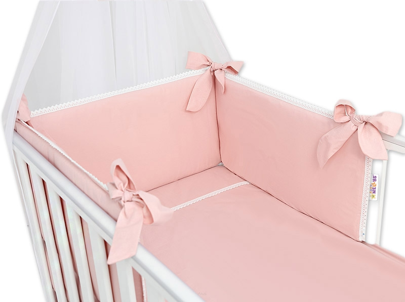 Baby Nellys Luxusní 3-dielna sada Mantinel s obliečkami Royal Baby  - pudrová
