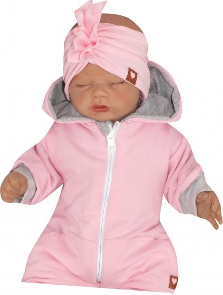 Z & Z Stylová bavlnená Čelenka / Turban, růžová-#Velikost koj. oblečení;56-68 (0-6 m)