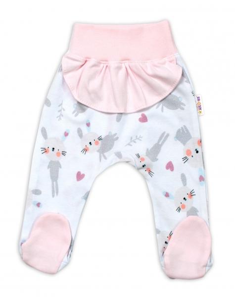 Baby Nellys Bavlnené dojčenské polodupačky, Cute Bunny - ružové-#Velikost koj. oblečení;56 (1-2m)