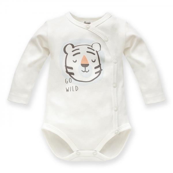 Pinokio Body dlhý rukáv Wild Animals - Tigrík, ecru, veľ. 56-#Velikost koj. oblečení;56 (1-2m)